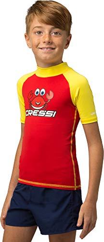 Cressi Unisex-Kinder Rash Guard Short Jr, Rot/Gelb, 2/3 Jahre (98 cm)