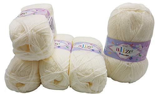 5 x 100g Strickwolle Alize Bebe Creme weiß Nr. 450, 500 Gramm Wolle zum Stricken und Häkeln