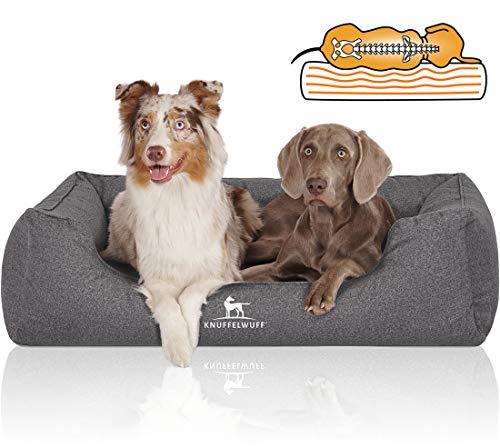 Knuffelwuff Orthopädisches Hundebett aus Velours, wasserabweisend, in handgewebter Materialoptik, Malou M-L S, 85 x 63 cm, Grau