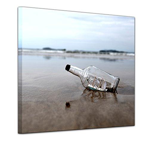 Wandbild Buddelschiff - Schiff in der Flasche II - 40x40 cm quadratisch Leinwandbilder Bilder als Leinwanddruck Fotoleinwand Landschaften Küste - Flaschenschiff am Strand