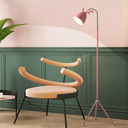 LAMPES À PLANCHER INTÉRIEUR ZXC YWXLight Macaron Lampadaire Nordic Chambre Salon étude Cute Pink Creative Antler Eye LED Lampe de table (Noir) (Couleur : Rose)