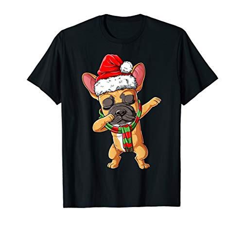 Dabbing French Bulldog Santa Christmas Gifts Kids Boys Xmas T-Shirt