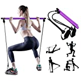PLEASION Adjustable Pilates Bar with Resistance Bands, Portable Pilates Home Gym Machines, Fitness Kit and Foot Loop Exercising at Home, Yoga, Training Section