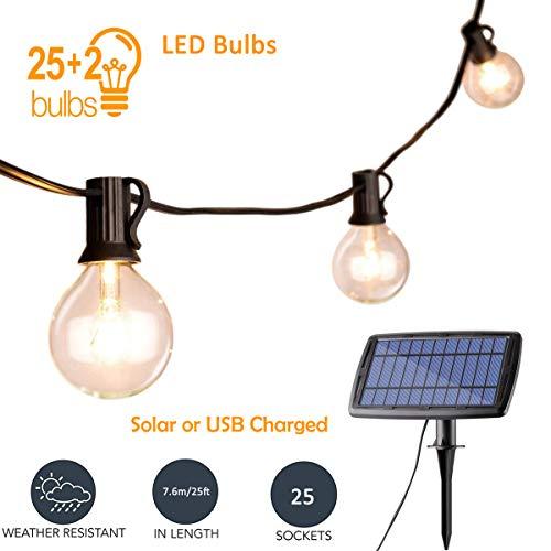 Solar-LED-Lichterketten Patio hängen Außenleuchten 25ft G40 Globe wasserdicht 25 + 2 Ersatzlampen, dekorative Indoor/Outdoor Warmweiß für Backyard Garden Festoon Party [Energieklasse A +++]