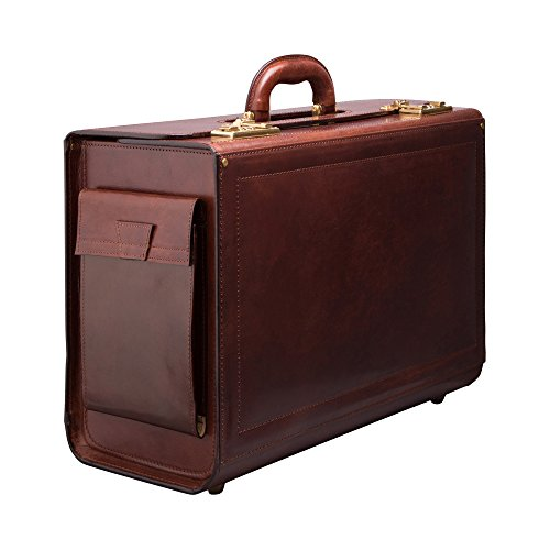 Maxwell Scott Timeless Italian Leather Flight Case - Varese Brown