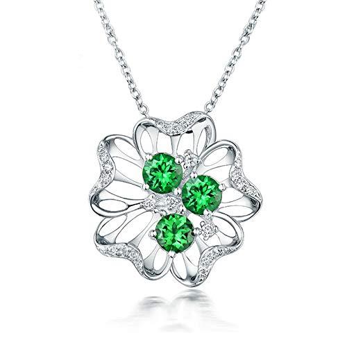 Aartoil 18K White Gold Pendant Necklaces for women Flower with 1.235ct Round Tsavorite Necklace (Tsavorite: 1.235cttw/3pcs)