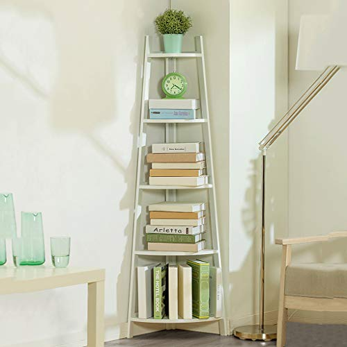 Opslag Ruimtebesparende High Display Shelf 5 Tier Hoek Ladder Boekenkast Rek Unit, Hoekplank, Boekenkast Ladder Boekenkast Plant Stand voor Home Office Fan-Shape Hoek Opslag Rekkast