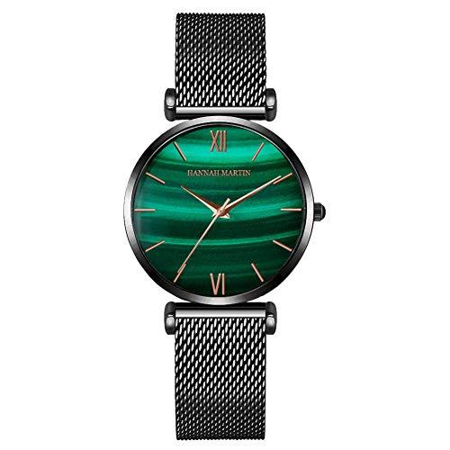 Hannah Marti Reloj De Cuarzo para Mujer con Esfera AnalóGica De Gradiente De Pavo Real Verde con Correa De Acero Inoxidable Y Cuero