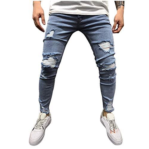 FRAUIT Pantaloni Uomo Jeans Strappati Invernale Pantaloni Ragazzo Denim Stretti sotto Pantalone Uomini Estivo Casual Pantaloni Tuta Slim Fit Pantaloni Lunghi con Tasche Hip Hop Harem Spiaggia