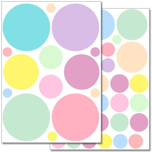 Wandkings Pastell Punkte Wandsticker Set, 46 Aufkleber, 2 DIN A4 Bögen, Gesamtfläche 60 x 20 cm