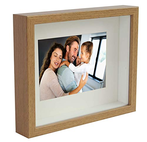 BD ART 8x10 (20 x 25 x 4.7 cm) Oak Shadow Box 3D Picture Frame with Mat for 5x7 inch Photo, Glass Front