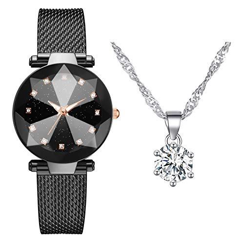 Business Quarzuhr mit Halskette, Mode Damen Quarz Uhr mit Edelstahl Armband, Frauenuhren Damenuhr, Casual Armbanduhr Geschenk für Frauen Damen (A4)