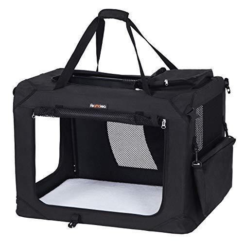 FEANDREA Hundebox, Transportbox für Auto, Hundetransportbox, Faltbare Katzenbox aus Oxford-Gewebe, S, 50 x 35 x 35 cm, schwarz PDC50H