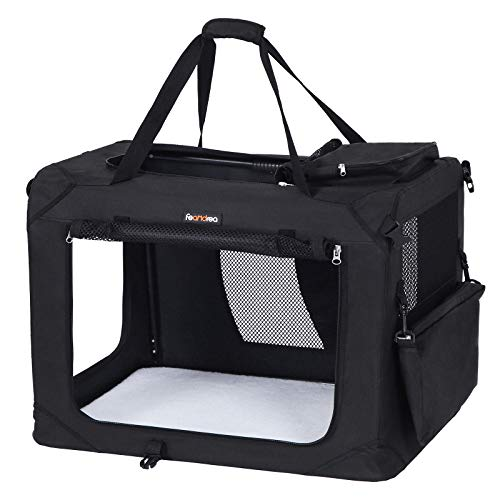 FEANDREA Hundebox Transportbox Auto Hundetransportbox faltbar Katzenbox Oxford Gewebe Schwarz 102 x 69 x 69 cm PDC10H
