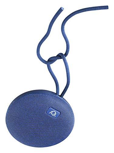 AQL - Altavoz portátil Bluetooth regordete, altamente resistente al agua con Ipx 7, con micrófono para llamadas telefónicas y clip y cable, color: azul