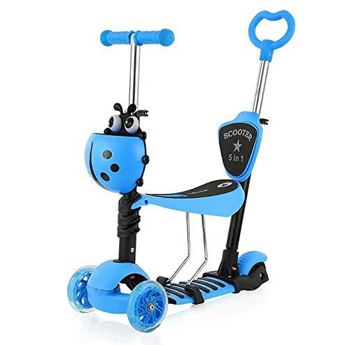 YOLEO Patinete para Niños 5-en-1, Patinete 3 Ruedas LED Parpadeantes, Scooter para Niños con Manillar Ajustable Asiento Extraíble de 2 a 8 años, Carga Máxima de 75 kg(Azul)