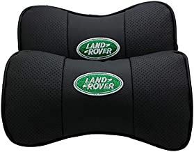 Auto Sport 2 PCS Genuine Leather Bone-Shaped Car Seat Pillow Neck Rest Headrest Comfortable Cushion Pad with Logo Pattern for Land Rover Accessory