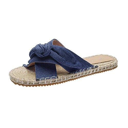 CCJW Señoras de Eva del Dedo del pie del Anuncio del Flip-Flop, Slip-on cómodo Deslizamiento en Sandalias con Pendiente-Blue_42, no Slip Playa Cubierta Zapatillas de casa kshu