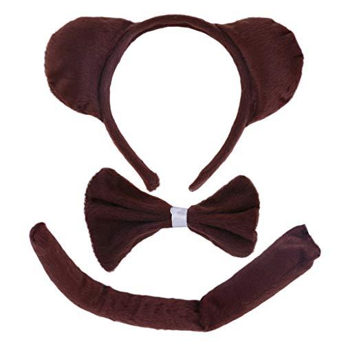 FATTERYU Kind Erwachsene Tier Kostüm Sets Runde Affenohren Stirnband Fliegen Langen Schwanz Halloween Birthday Party Favors Cosplay Kit