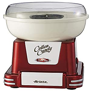 Ariete 2971 Máquina de Algodón de Azúcar Party Time 500 W, Diseño Retro Incluye 2 Conos de Plástico y una Cuchara de Medicón, Desmonstable, Rojo