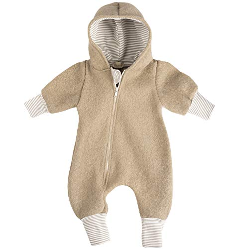 """Lilakind"""" Baby Wollwalk Overall Einteiler mit Kapuze Walkloden Walkoverall Caramel Gr. 92/98 - Made in Germany"""