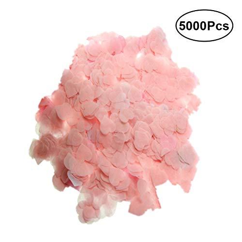 Toyvian 5000pcs 2.5cm Papel romántico Amor en Forma de corazón del Banquete de Boda Confeti decoración Suministros (Rosa)