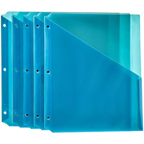 AmazonBasics Binder Organizer Poly Jacket, 3 Hole Punch, Assorted Colors, Pack of 25