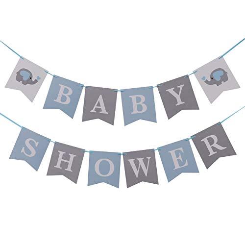 Amosfun Fiesta de cumpleaños Baby Shower Cartas Banner de Papel Dibujos Animados Elefante Decoraciones navideñas para niños Fiesta
