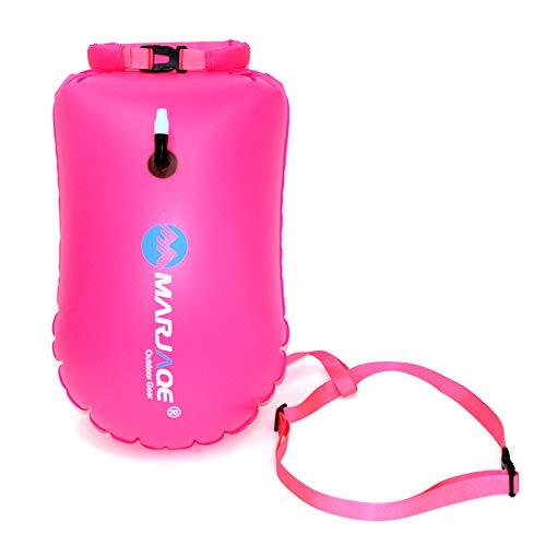 Schwimmen Boje Packsack, 20L wasserdicht aufblasbare Schwimmen Tow Float Bag mit verstellbarem Gurt für Kajak Bootfahren Kanufahren Angeln Rafting (Rosenrot)