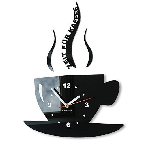 FLEXISTYLE Tasse Zeit für Kaffee Moderne Küche Wanduhr, 3D römisch, wanduhr deko (schwarz)