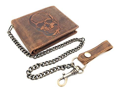 echt Leder Biker Geldbörse quer Hunterleder Portemonnaie Totenkopf Schädel Skull mit 50cm Kette & RFID Schutz