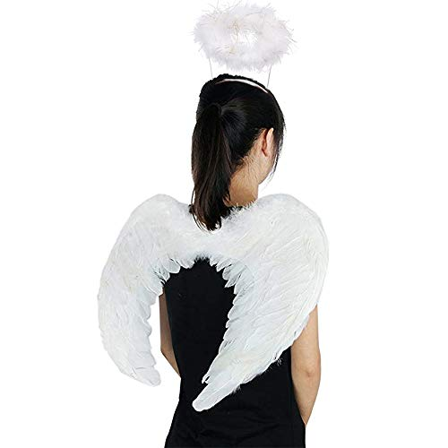 Jackcell Angel Wings and Halo Headband for Kids Costumes Feather Dress up Fancy Cosplay Party for Girls Women Adults (White-Large 23.6' X 13.8')
