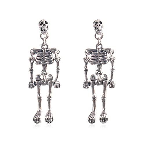 Litzxl Halloween, Pendientes de Gota Pendientes con Colgante de Calavera Diseño Pendientes de Robot de Calavera Mujeres Hombres Joyería de Halloween