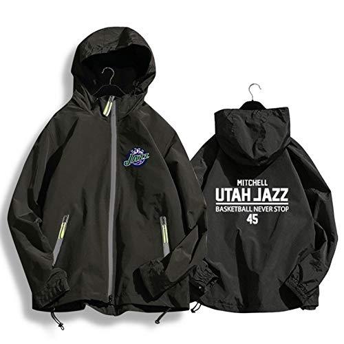 Mitchell # 45 Jazz - Chaqueta de baloncesto con capucha para hombre y mujer, chaqueta de manga larga, color negro