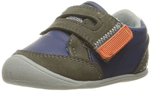 Carter's Every Step Stage 1 Girl's and Boy's Crawling Shoe, Taylor, Navy/Gray/Orange, 2 M US Infant