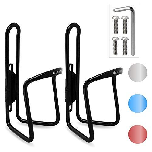 HiLo sports 2er Set Fahrrad Flaschenhalter | 4 Schrauben + Werkzeug | 4 Farben (schwarz)