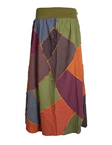 Vishes - Alternative Bekleidung - Langer Weiter Damen Patchwork-Rock - Hand-Gewebte Baumwolle bunt 44