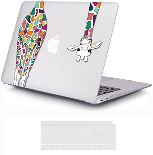 MacBook Air 13 inch Case 2020 2019 2018 Release A2337 M1 A2179 A1932, iCasso Plastic Hard Shell Case Cover and Keyboard Cover Only Compatible MacBook Air 13'' with Touch ID Retina Display - Giraffe