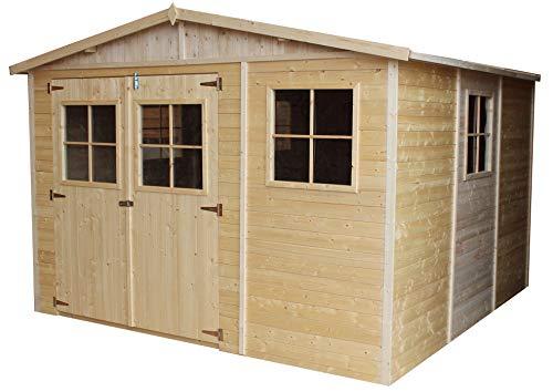 Casa da giardino in legno naturale H226x316x324 cm/9 m²- Magazzino esterno con finestre - Capanno da giardino - Bici, Deposito attrezzi e rimessa TIMBELA M335