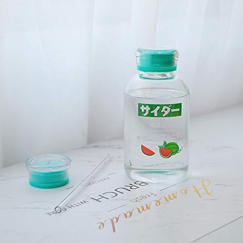 Taza de pajita de 450 ml con diseño de fruta, de dibujos animados, para niños, botella de agua portátil de cristal, doble tapa, transparente, taza de paja (capacidad: 401 500 ml, color: sandía)