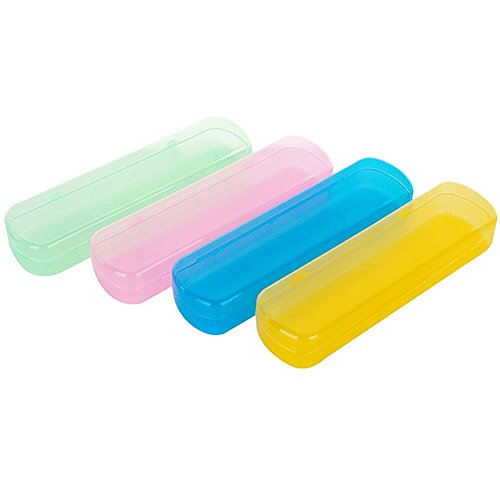 Ericotry - Custodia in plastica per spazzolino da denti e dentifricio, 4 pezzi, portatile, antipolvere, per uso quotidiano e da viaggio, colore selezionato in modo casuale