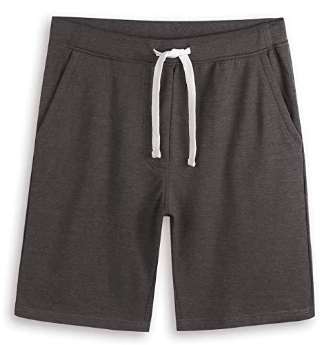 HARBETH Men's Casual Soft Cotton Elastic Fleece Jogger Gym Active Pocket Shorts Heather Charcoal XL