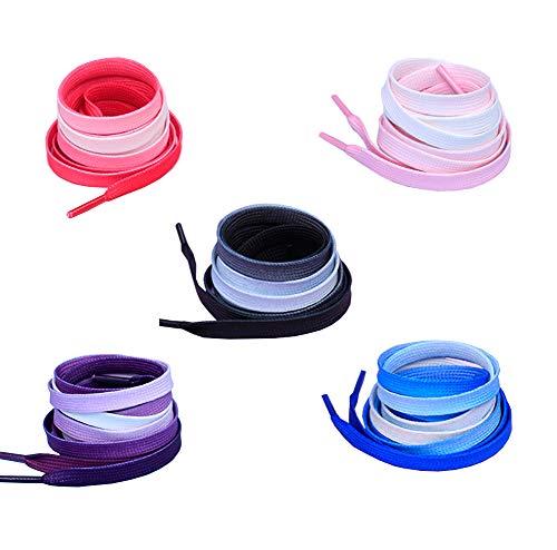 JIHUOO 5 Paar Flache Farbverlauf Bunte Schnürsenkel Schuhbänder Schuhriemen Shuhband für Sneaker Sportschuhe