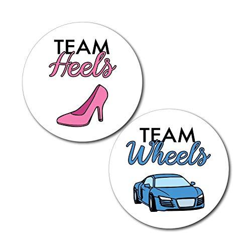 36 2.5 inch Team Heels Wheels Gender Reveal Party Stickers