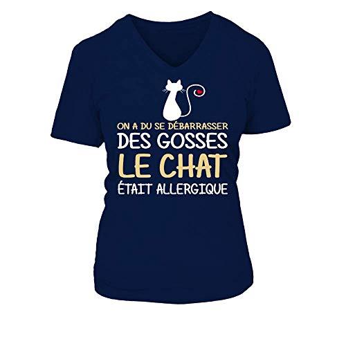 TEEZILY T-Shirt Femme on a dû Se débarrasser des gosses Le Chat était Allergique - Bleu Marine -...