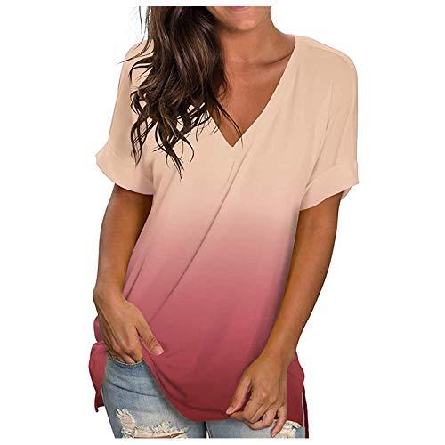 여성 여름 탑 여성 패션 인쇄 캐주얼 그라디언트 V-NECK 쇼트 슬리브 루스 T-셔트 탑