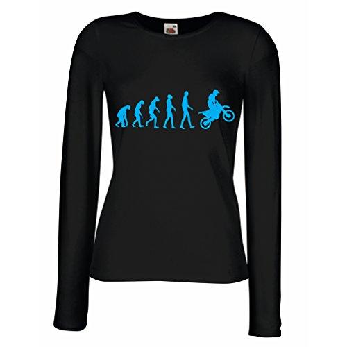 lepni.me Camisetas de Manga Larga para Mujer Evolución del Motocross Equipo de Moto Ropa de Carreras Todoterreno (X-Large Negro Azul)