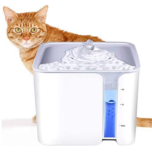 LXBH Fuente De Agua para Gatos 68Oz / 2L Dispensador De Agua Automático para Perros Fuente De Agua En Cascada Super Sound-Off para Gatos Perros Varias Mascotas