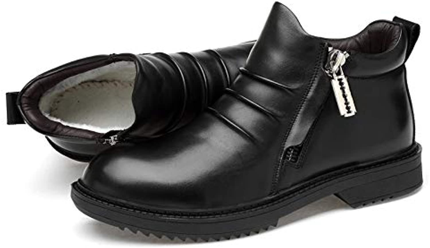 Men's Leather Boots Winter High-Top Shock Absorption shoes Wear-Resistant Keep Warm Outdoor Loafers Driving shoes,B,42
