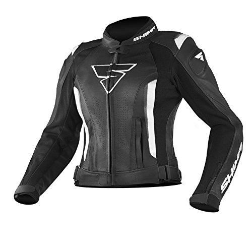 SHIMA MIURA JACKET BLACK/WHITE, Sportschutz mit Armored Damen Motorrad Lederjacke (32-42, Schwarz/Weiß), Größe 38, MIURA JACKET BLK/WHT 38